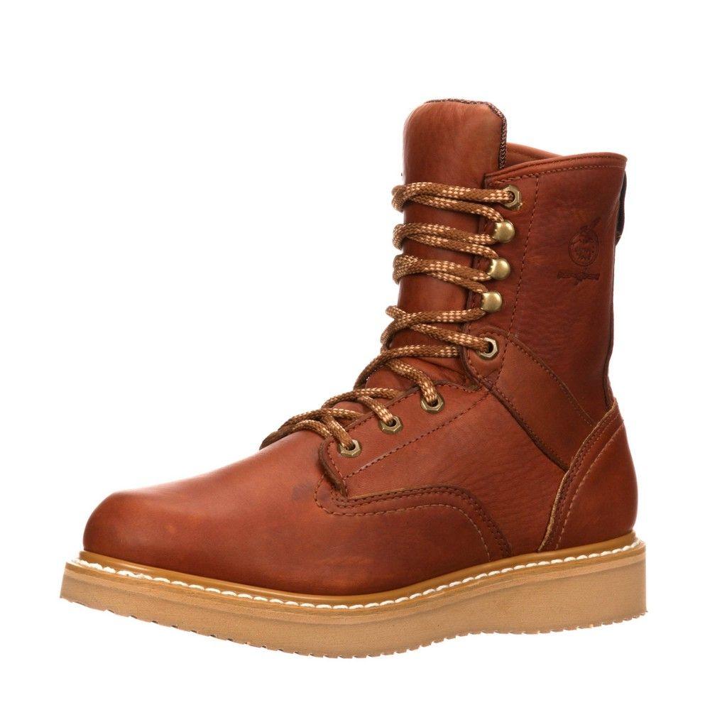 "Image of Georgia Boot Work Men 8"" Steel Toe Wedge Leather Barracuda Gold G8342"