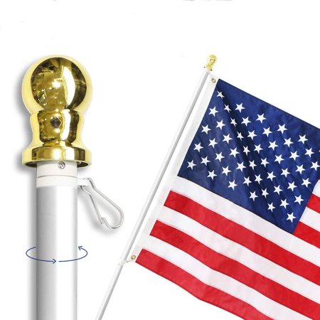 6 Feet No Tangle Spinning Flagpole, Aluminum Spinning Wall Mount Flag Pole – Heavy Duty, Weather Resistant & Rust Free – Silver