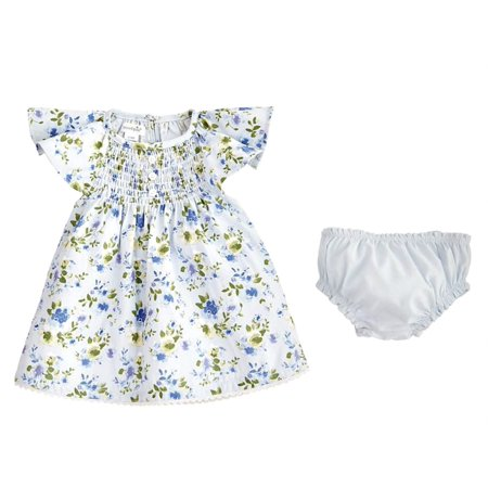 a1022df64 In Fashion Kids - Mud Pie Baby Girls Blue Floral Smocked Dress and Panty  3-6 months - Walmart.com
