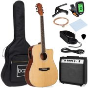 Best Choice Products Beginner Acoustic Electric Guitar Starter Set 41in w/ All Wood Cutaway Design, Case - Natural