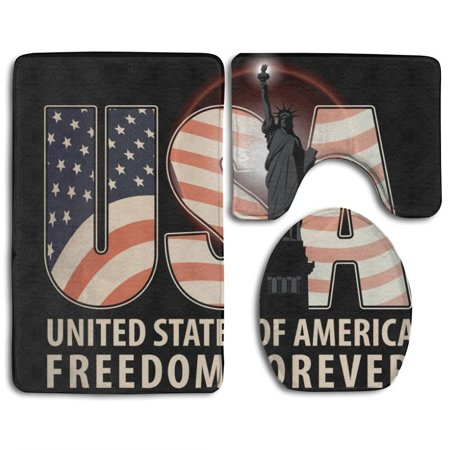 XDDJA Freeom Forever USA Letters 3 Piece Bathroom Rugs Set Bath Rug Contour Mat and Toilet Lid Cover - image 2 of 2