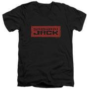 Samurai Jack Red Logo Mens V-Neck Shirt