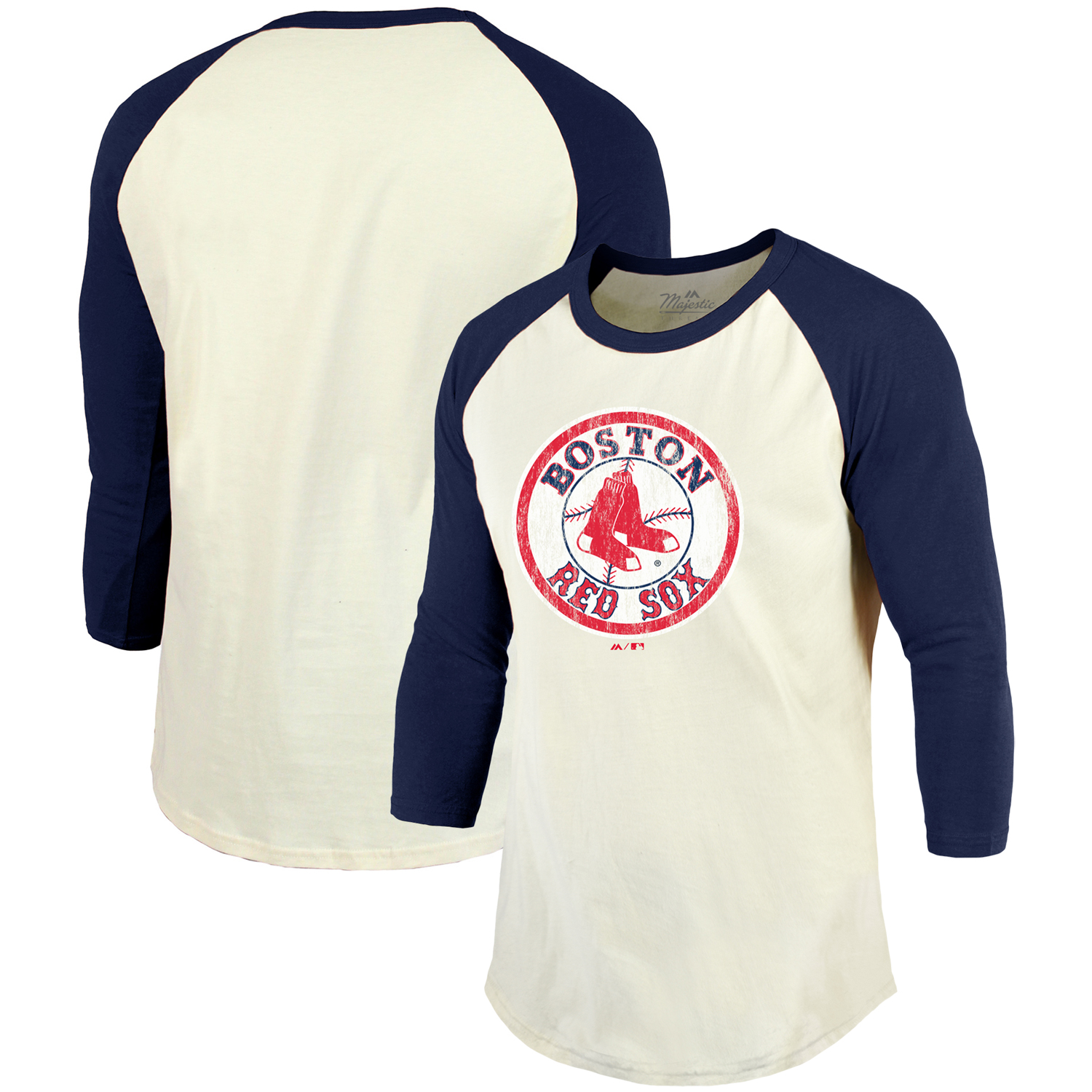Boston Red Sox Majestic Threads Cooperstown Collection Raglan 3/4-Sleeve T-Shirt - Cream/Navy