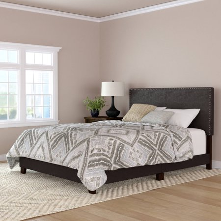 Mainstays Faux Leather Nailhead Queen Size Bed Multiple