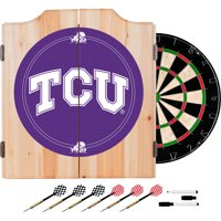 NCAA Texas Christian University Dart Cabinet with Darts and Board