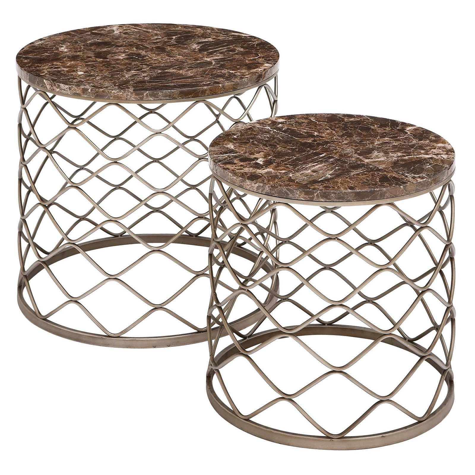 Benzara The Breathtaking Metal Faux Marble Tables
