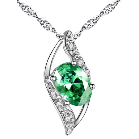 Women Sterling Silver Lab Created Emerald 0.75ct Oval Cut Leaves Shape Pendant Necklace, 18Gifts for Women