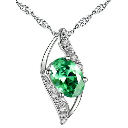 Women Sterling Silver Lab Created Emerald 0.75ct Oval Cut Leaves Shape Pendant Necklace, 18Gifts for Women Hammered Oval Necklace