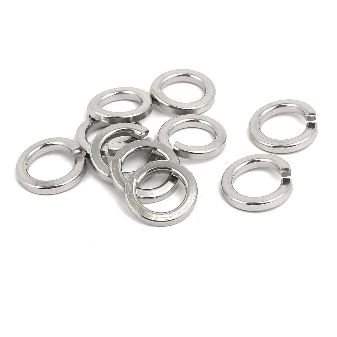 M12 304 Stainless Steel Split Lock Washer Silver Tone 10pcs