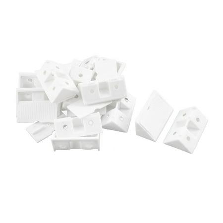 Furniture Plastic Corner Bracket Angle Brace 42mm X 20mm X 20mm White 12 Set