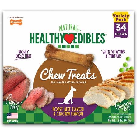 Nylabone Healthy Edibles Roast Beef /Chicken Variety Value Pack, Petite 136ct (4x34ct)