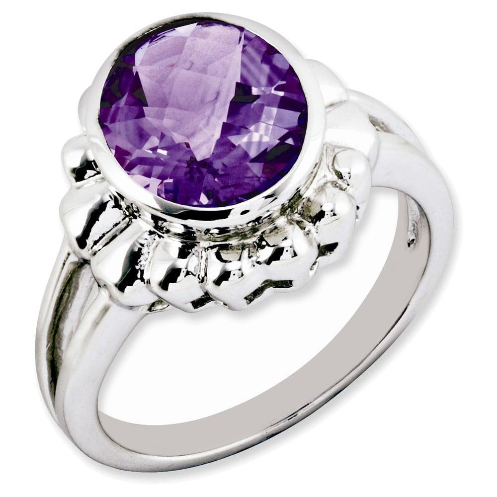 Sterling Silver Checker-Cut Amethyst Ring Size 9