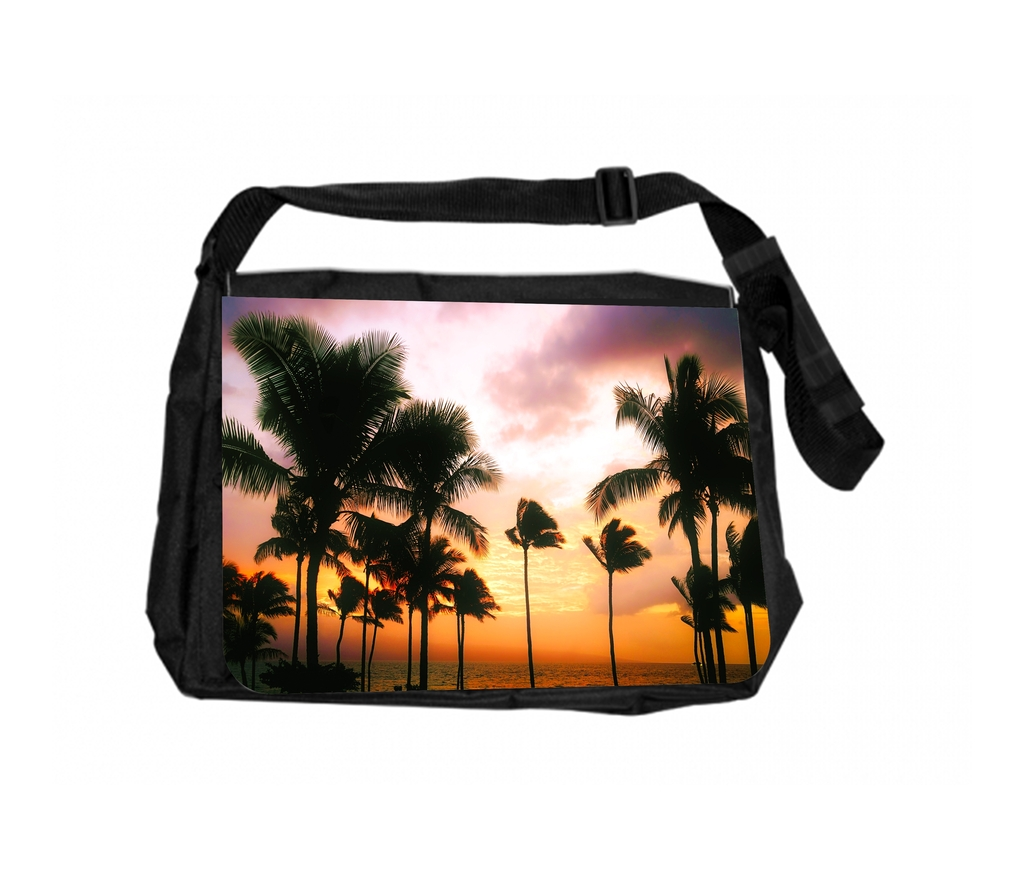 Palm Tree Art Lagoon Laptop Shoulder Messenger Bag Case Sleeve for 14 Inch to 15.6 Inch with Adjustable Notebook Shoulder Strap