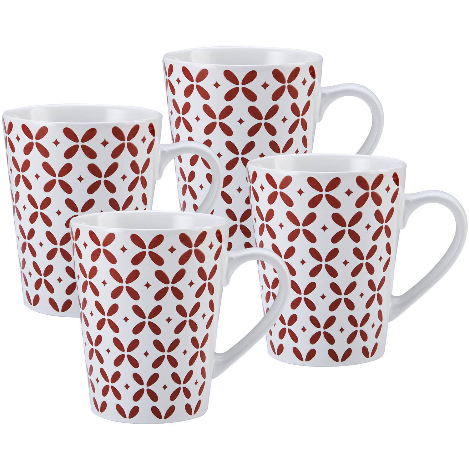 Pfaltzgraff Set of Four 27 Ounce Jumbo Red Petals Coffee Mugs