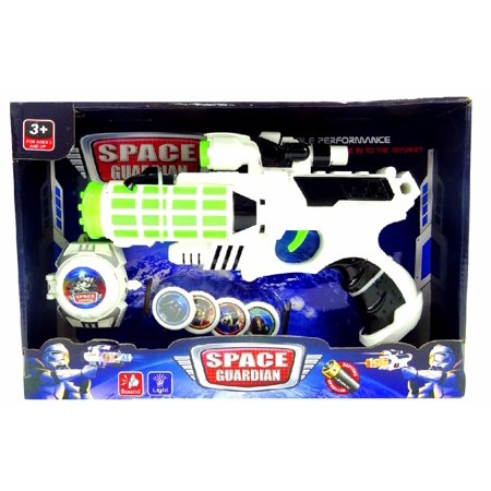 Futuristic 12? Light-up Mega Space Blaster Phaser,Space Gun with Space Watch and Disks - Disc Gun