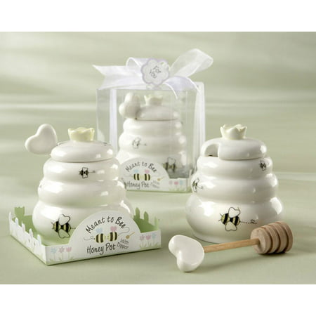 Kate Aspen Ceramic Honey Pot with Wooden Dipper, Meant to Bee, Perfect Wedding Favor, Bridal Shower Favor, Baby Shower Favor & Home Gift (Set of 6)