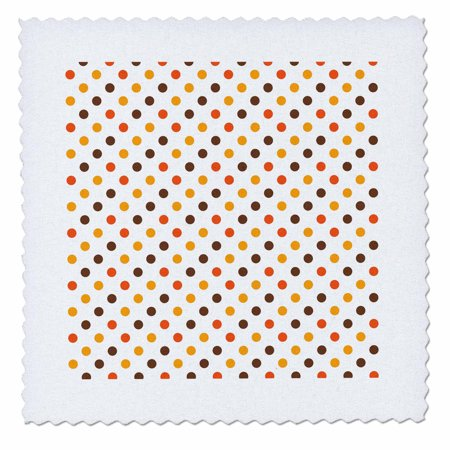 3dRose Halloween Colors Brown, Orange and Yellow Polka Dot Pattern - Quilt Square, 10 by 10-inch - Halloween Quilt