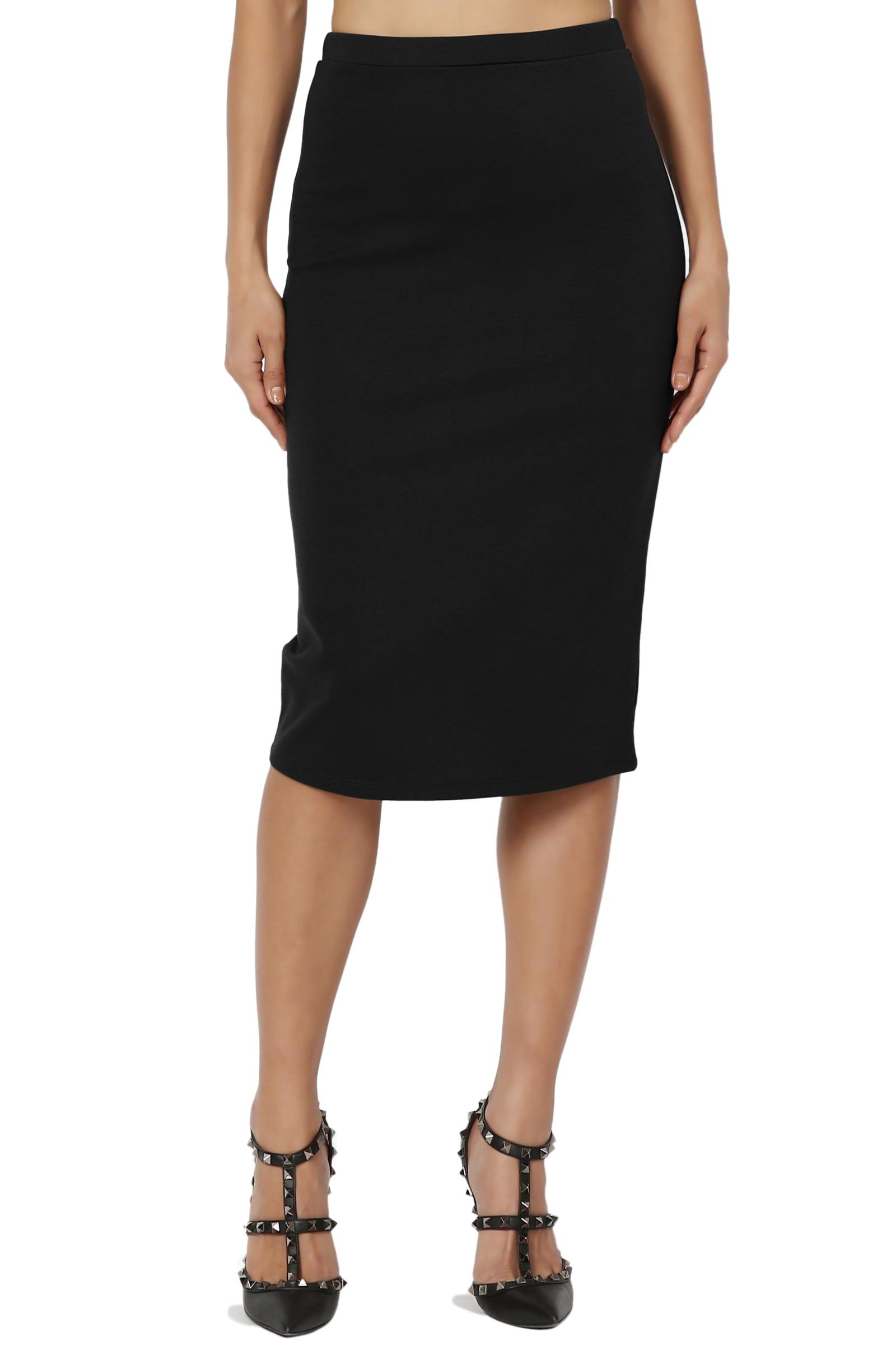 TheMogan Women's PLUS Basic Stretch Thick Ponte Knit Pencil Midi Skirt