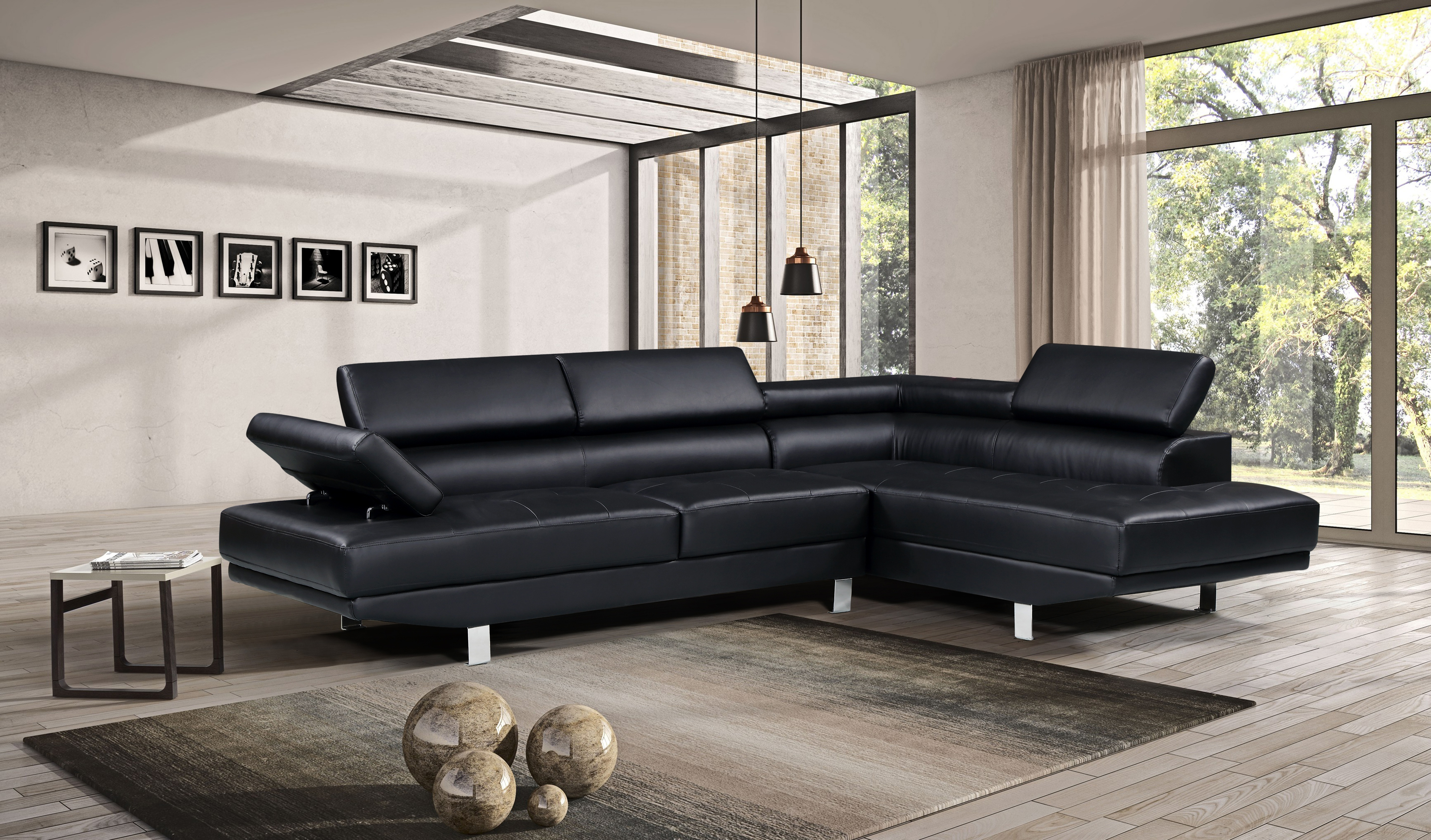 Brilliant Harperbright Designs Modern Faux Leather Sectional Sofa Dailytribune Chair Design For Home Dailytribuneorg