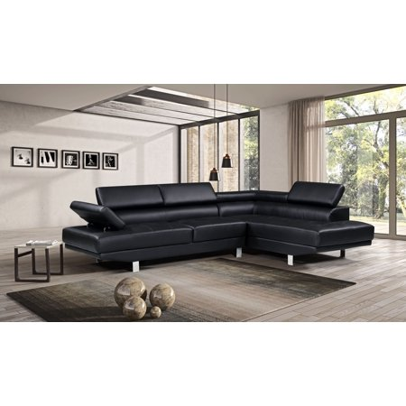 Harper Bright Designs Modern Faux Leather Sectional Sofa With Adjule Headrest And Functional Armrest
