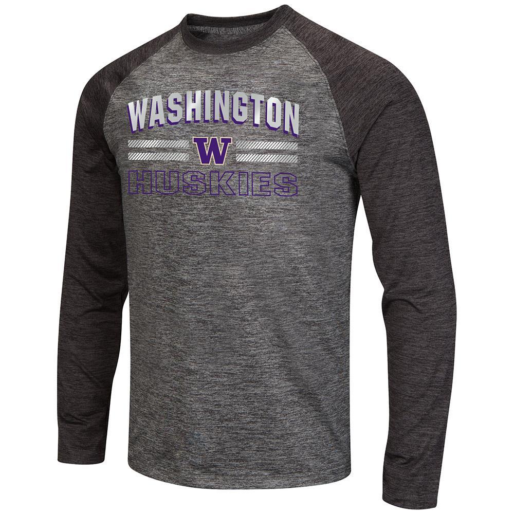 Mens Washington Huskies Raven Long Sleeve Tee Shirt