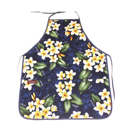 Hawaii Floral Print Flower Adult Aprons for Men and Women -Blue Plumeria