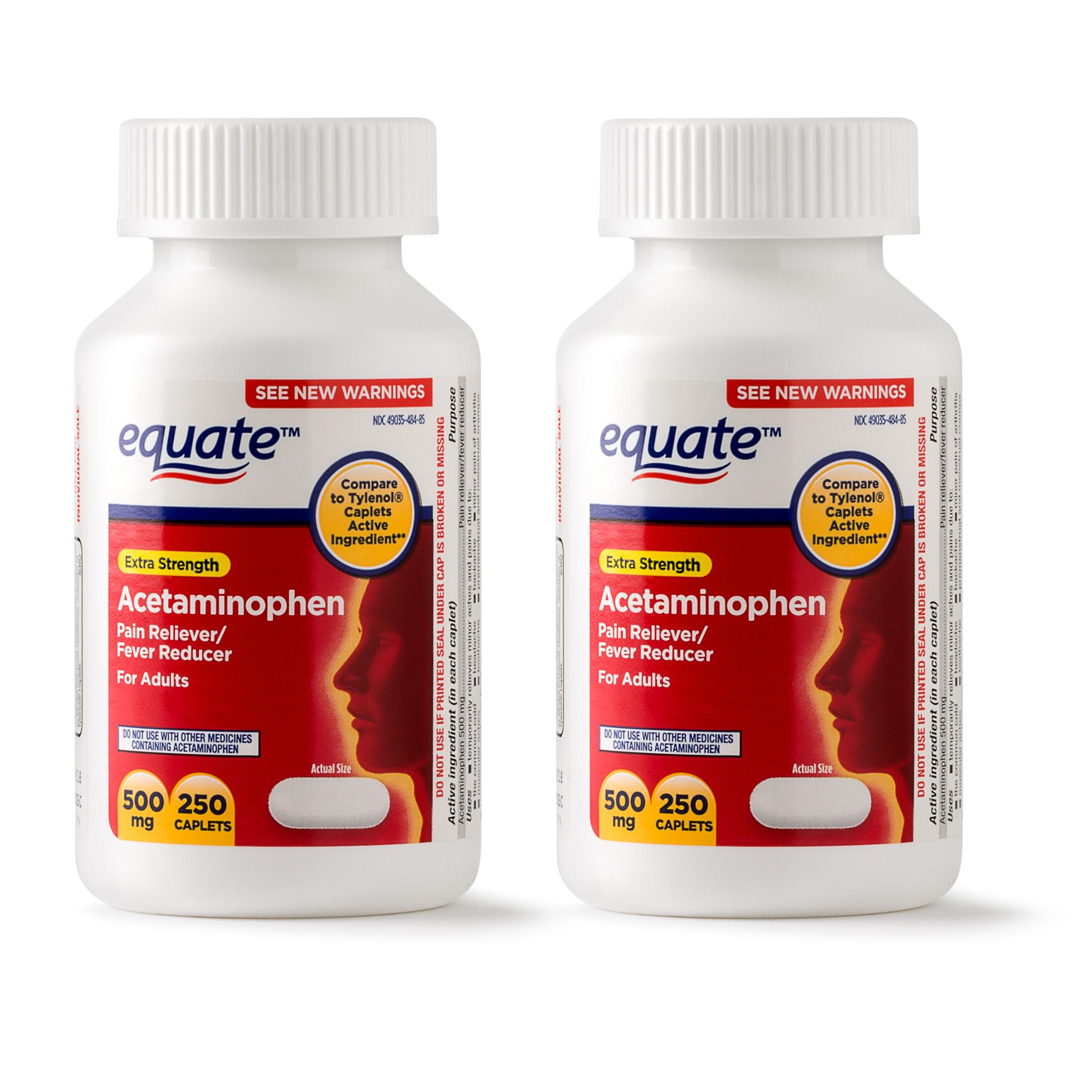 Equate Extra Strength Acetaminophen Caplets, 500 mg, 250 Ct, 2 Pk