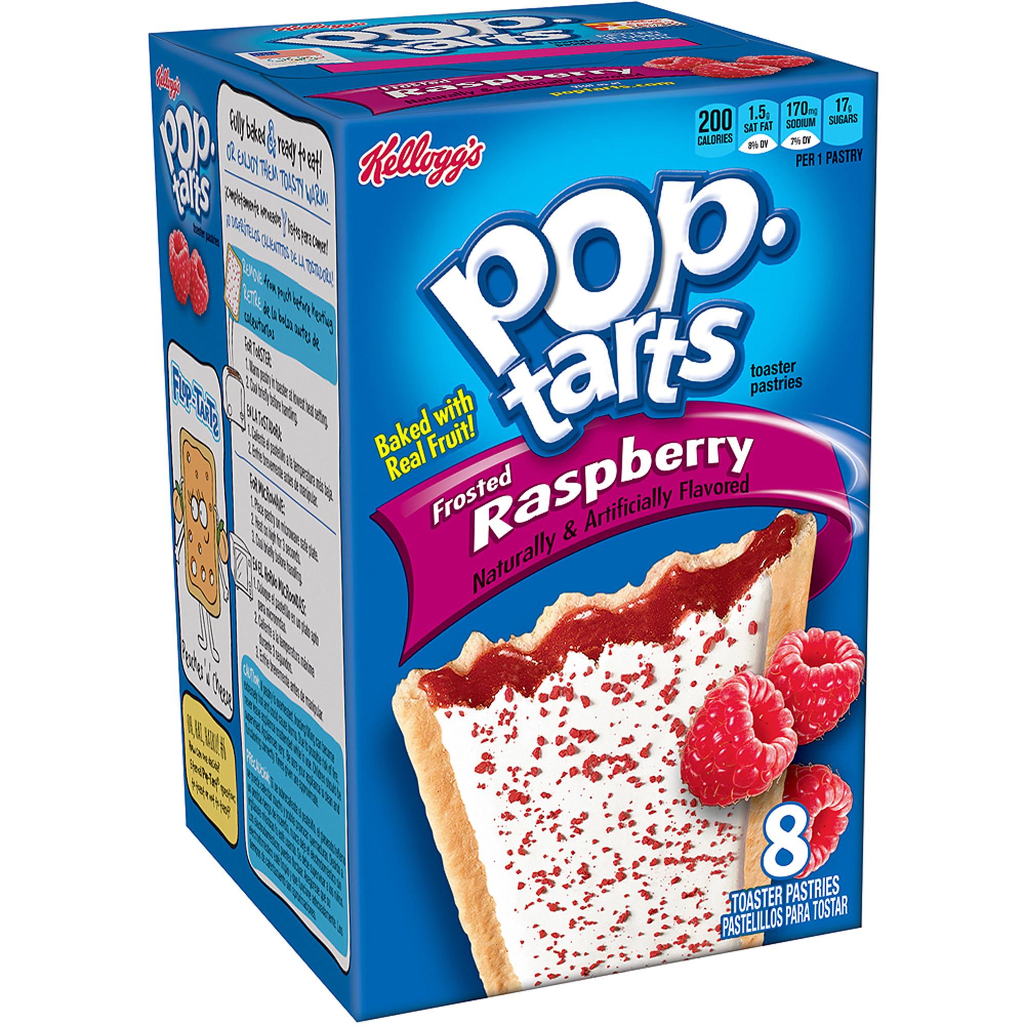 Kellogg's Pop Tarts BreakfastToaster Pastries, Frosted Raspberry, 8 ct (12 Pack)