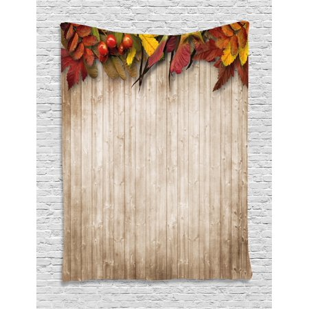 Fall Decor Tapestry, Autumn Leaves and Berries Border on Vintage Wooden Background Botanical Vivid, Wall Hanging for Bedroom Living Room Dorm Decor, 40W X 60L Inches, Multicolor, by (Botanical Berry)