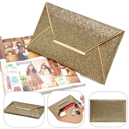 Meigar Fashion Women Sequins Evening Party Glitter Envelope Bag Purse Clutch Handbag Wallet ,Gold color - Evening Hard Clutch Purse Handbag