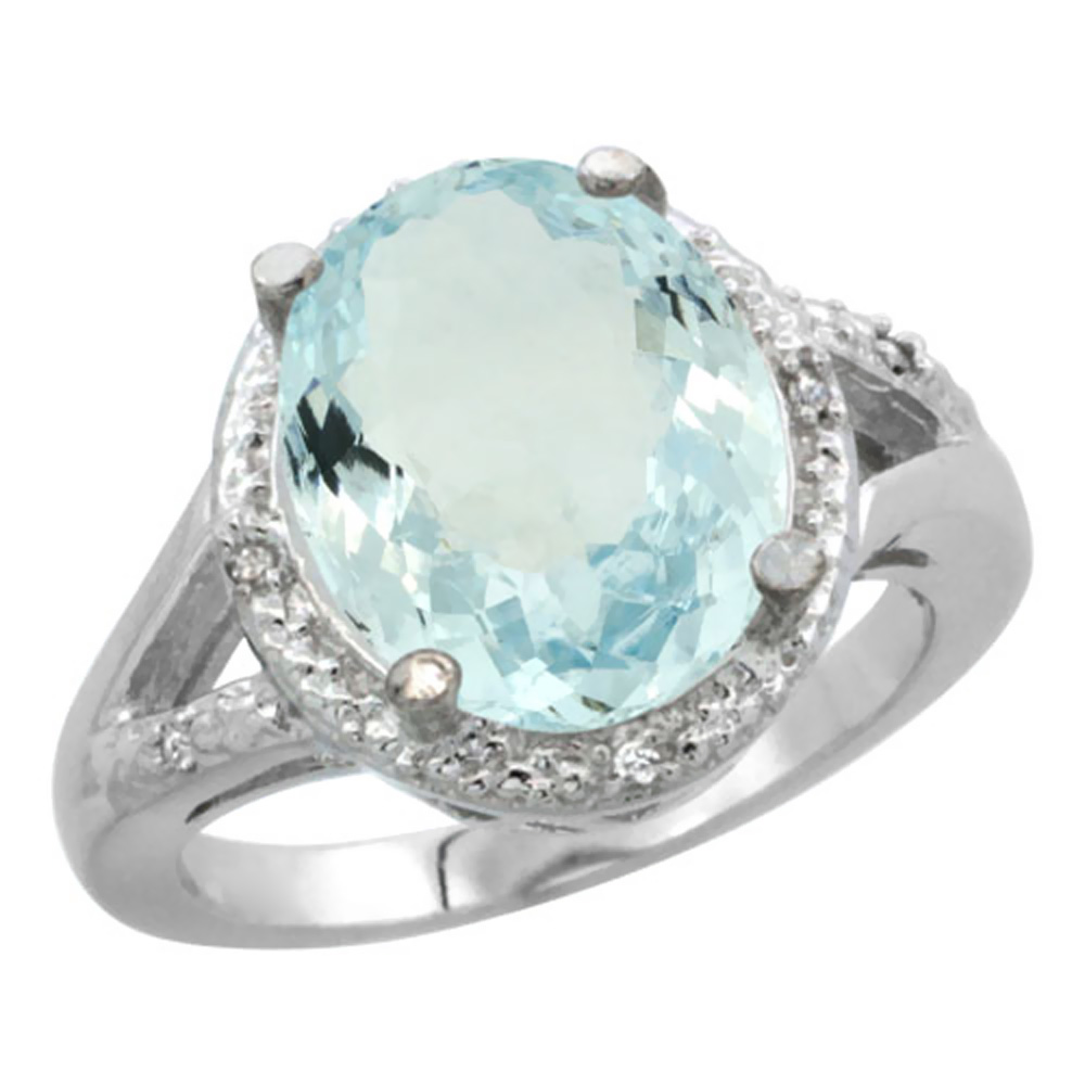 10K White Gold Natural Aquamarine Ring Oval 12x10mm Diamond Accent, size 5.5 by Gabriella Gold