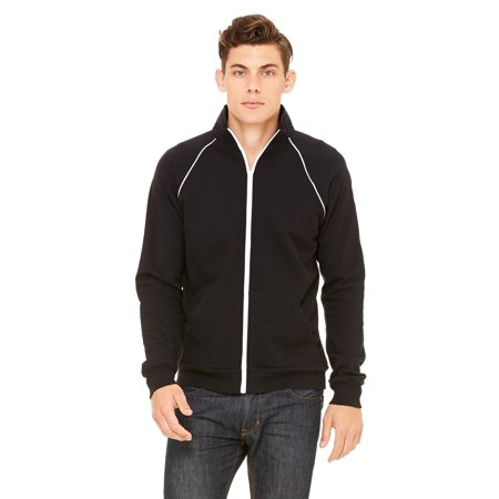 Branded Bella + Canvas Mens Piped Fleece Jacket - BLACK/ WHITE - XL (Instant Saving 5% & more) Bella Leather Coat