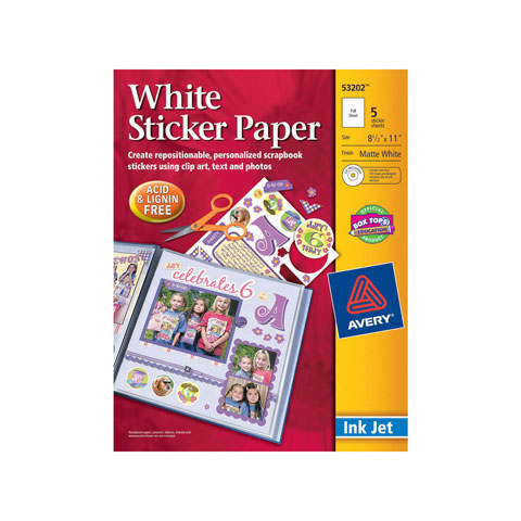 picture about Printable Sticker Paper Walmart called Avery Sticker Paper - White - 8.5 x 11 inches - 5 sheets