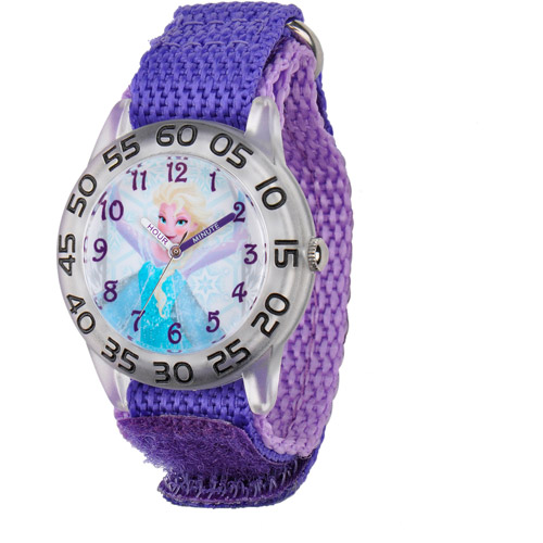 Frozen Elsa Girls' Plastic Case Watch, Purple Nylon Strap