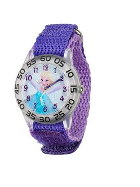 Frozen Elsa Girls' Plastic Case Watch, Purple Nylon Strap