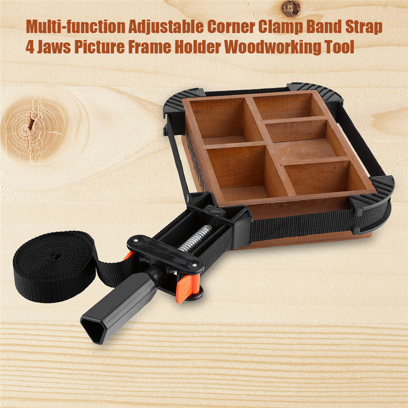 Multi-function Adjustable Corner Clamp, 4 Jaws Picture Frame Holder Woodworking Tool Clamp Band Strap