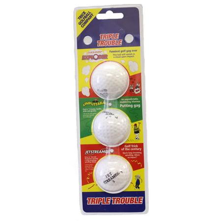 Triple Trouble Trick Golf Balls (Exploder, Unputtaball & (Jetstreamer Golf Ball)