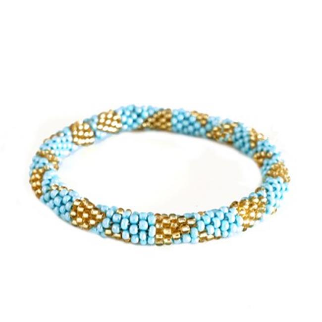 C Jewelry Turquoise And Gold Mixed Hand Beaded Roll On Bracelet