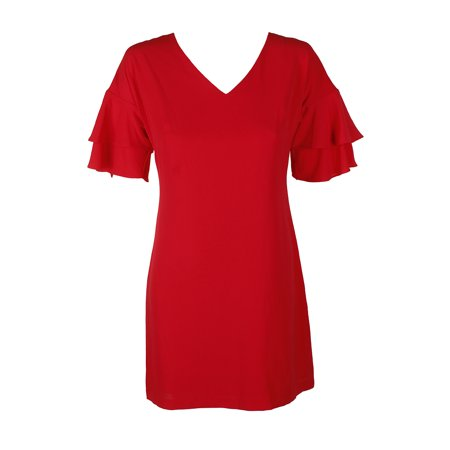 Jessica Rabbit Red Dress (Jessica Howard Petite Coral Textured Ruffle-Sleeve Shift Dress)