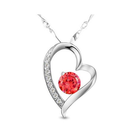Katgi Fashion Ruby Red Austrian Crystal Heart Shape Pendant Necklace, 18