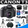 """Canon EOS Rebel T3 Digital Camera With Ef-s 18-55mm F/3.5-5.6 Is Autofocus Lens + Supreme Deluxe SLR Camera Bundle The T3 has a 12.2MP CMOS (APS-C) sensor and Canon's DIGIC 4 image processor - providing you with high quality JPEG and RAW images. Features like 100-6400 ISO, the 9 point AF system, and the 63 zone dual layer metering system help to capture detailed and lush images in any situation. Of course the 2.7"""" LCD doesn't hurt either - infact, the LCD provides a brillant display on which to compose and relive your shots. The camera also has a viewfinder for more precise image making. <br><br> <b>What's In the Camera Box?</b><br>* EF-S 18-55mm f/3.5-5.6 IS Autofocus Lens <br>* Eyecup <br>* LP-E10 Lithium-Ion Battery Pack <br>* LC-E10 Battery Charger <br>* Wide Strap EW-200DB <br>* AVC-DC400ST Stereo AV Cable <br>* EOS Digital Solution Disk <br>* Software Instruction Manual CD <br>* Camera Instruction Manual <br>* 1-Year Limited Warranty <br><br><b>Items Included With Your Package:</b> <br>1 - Canon EOS Rebel T3 Digital Slr Camera Kit with Manufacturer Accessory <br>1 - HD Wide Angle Lens W/ Protective Lens Case<br>1 - HD 2X Telephoto Lens W/ Protective Lens Case <br>1 - 3Pcs Filter Kit(UV, Circular Polarizer and Flourescent Filter ) with Case <br>1 - 8GB SDHC Memory card <br>1 - Memory Card Reader <br>1 - Memory Card Wallet <br>1 - Aluminum Tripd with Carrying Bag <br>1 - Mini to Regular HDMI Cable <br>1 - Premium Camera Carrying Case <br>1 - Lenspen <br>1 - Mini Travel Tripod<br>1 - Top Quality Screen Protector <br>1 - Cleaning Fluid <br>1 - 5pc Cotton Swabs <br>1 - Soft-Tex Fiber Cloth <br><br><b>Note:</b> All item includes manufacturer warranty from manufacturer. <br>"""