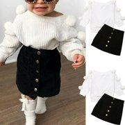 SUNSIOM 2PCS Toddler Baby Girl Autumn Winter Clothes Sweater Tops+Mini Skirt Outfits Set