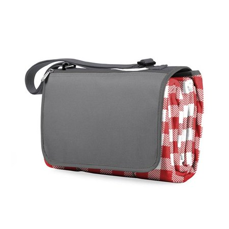 Blanket Tote XL Outdoor Picnic Blanket, (Red Check with Gray)