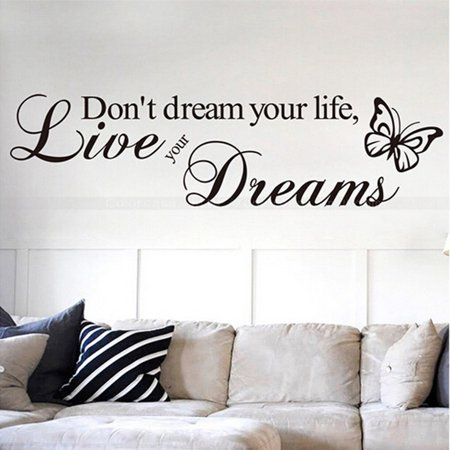 Butterfly Wall Decor - Don't dream your life Live your dream Quote Wall Sticker Inspirational Motto Wall Sticker Butterfly Decorative Wall Art Decal Wall Decor Sticker for Living Room Kitchen Bedroom