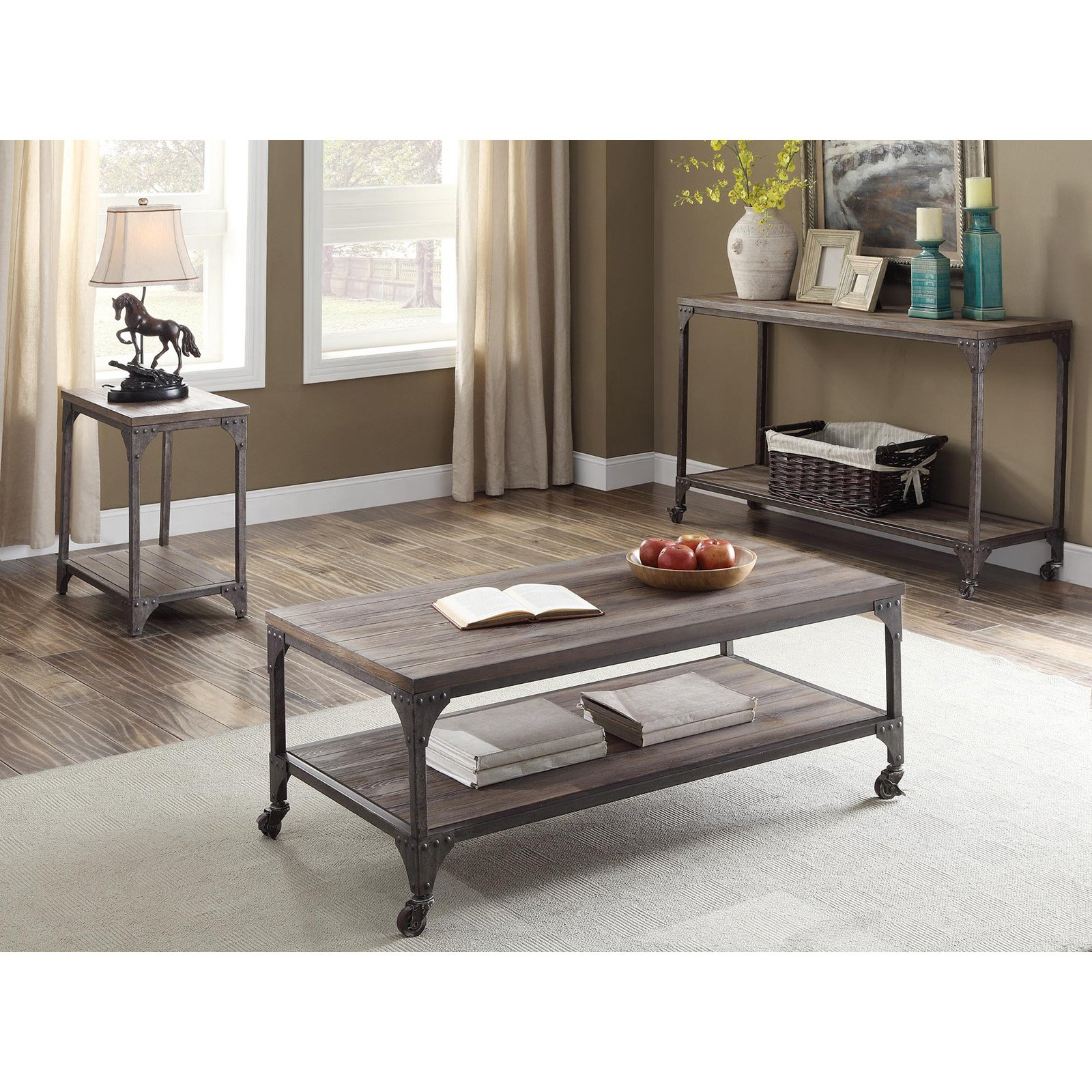 ACME Gorden Coffee Table, Weathered Oak & Antique Silver by Acme Furniture