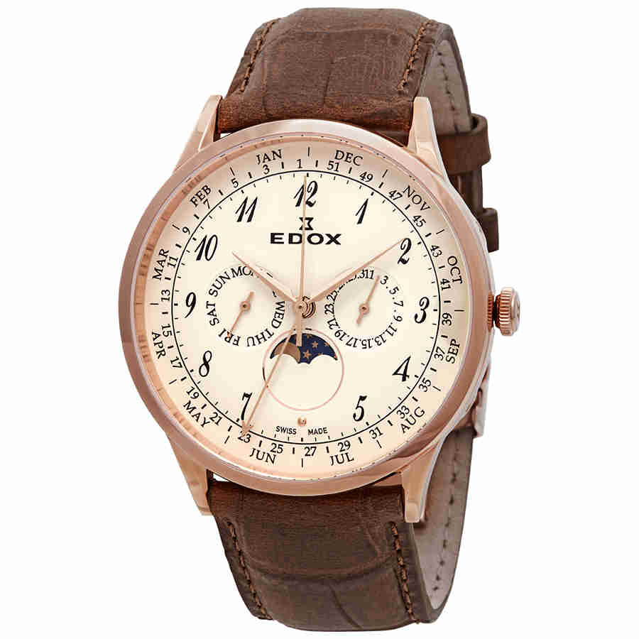 Edox Les Vauberts Rose Dial Brown Leather Mens Watch 40101 37RC BEBR