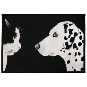 Park B Smith Ltd PB Paws & Co. Black / White Best Friends Tapestry Indoor/Outdoor Area Rug