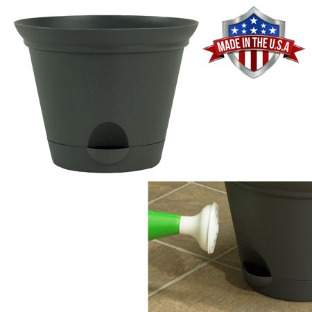 7 Inch Flat Gray Plastic Self Watering Flare Flower Pot or Garden Planter