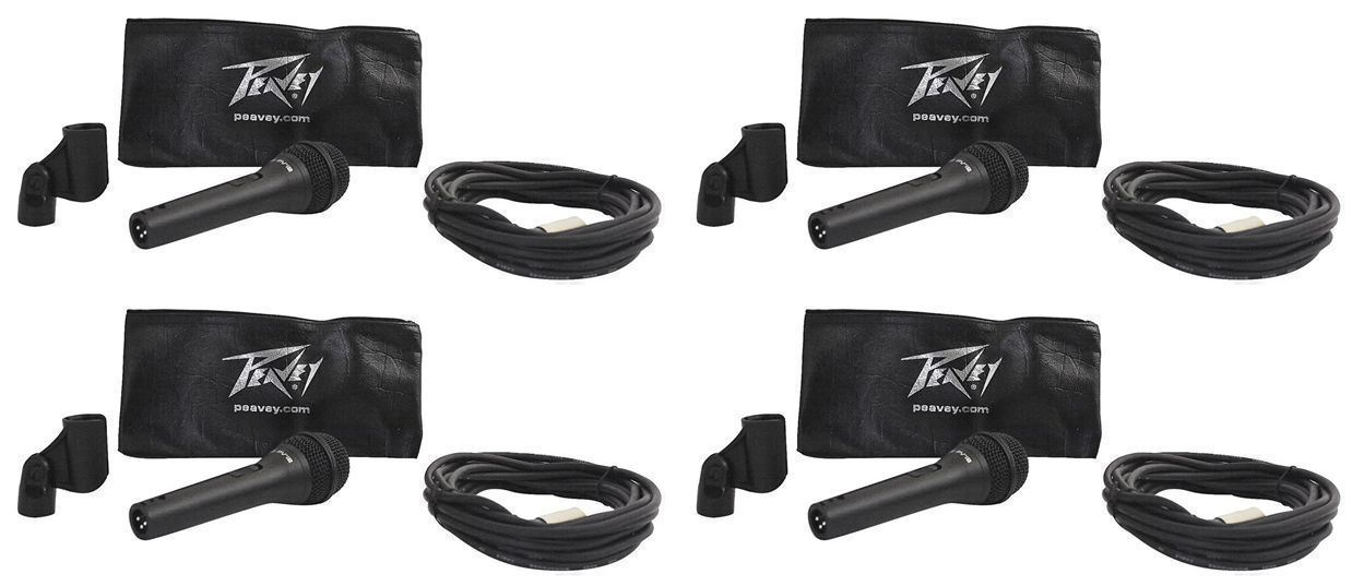 4 Peavey PVI-2XLR Dynamic Vocal Microphones, Steel Die Cast, Cardioid Mics by Peavey