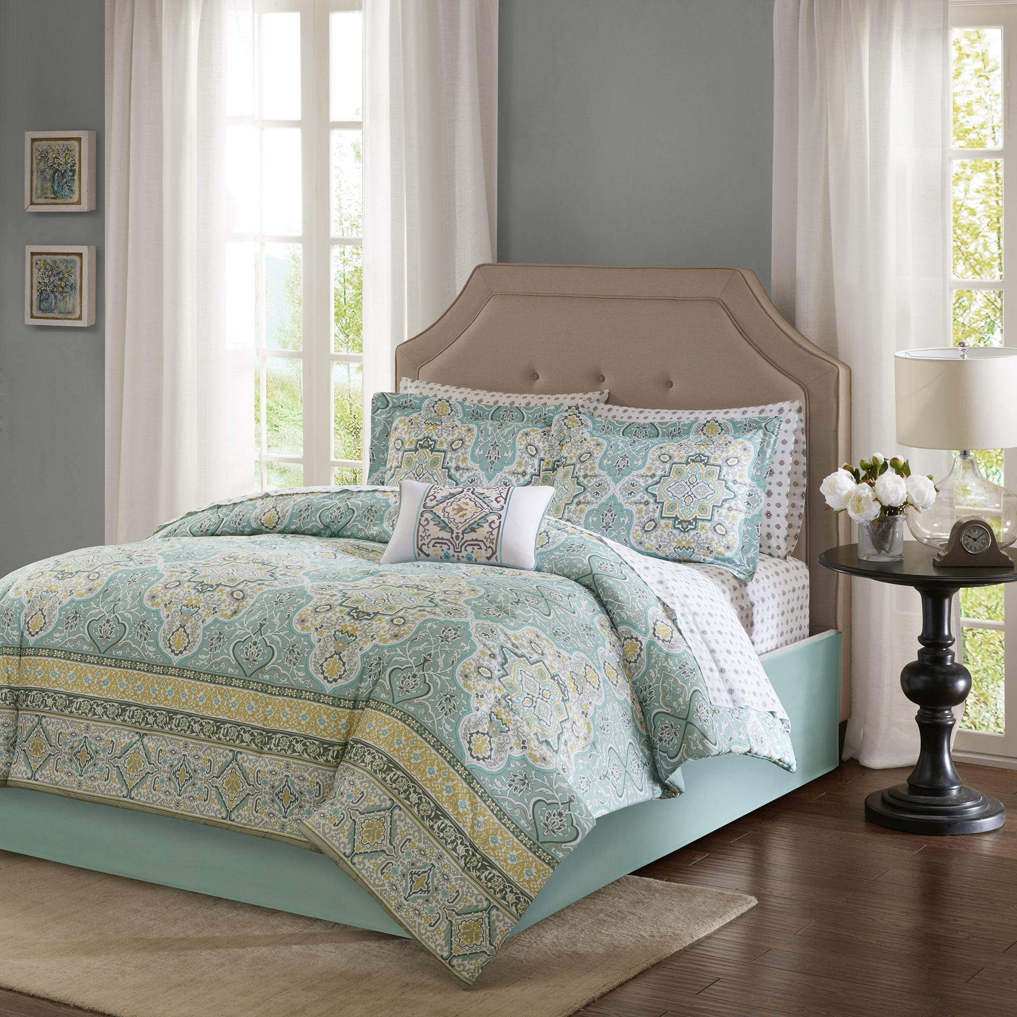 Home Essence Shannon Complete Comforter Set And Cotton Sheet Set